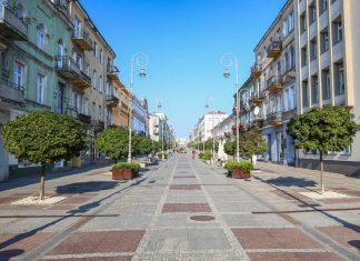 Widok na głównej ulicy w Kielcach